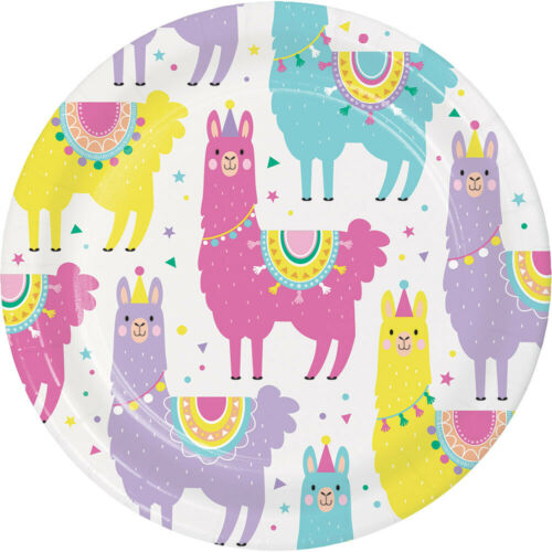 8 Llama Paper Party Plates Mexican Fiesta Birthday Party 18cm Dessert Lunch Size