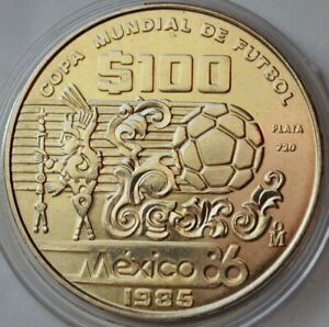 Mexico 100 Pesos, 1985, FIFA World Cup 1986 in Mexico, Silver coin
