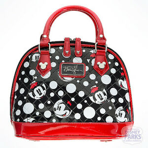 Details About Disney Parks Boutique Minnie Mouse Faces Dots Bowling Bag Purse Handbag Satchel