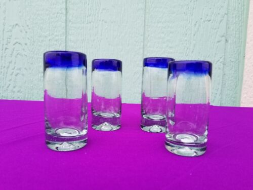 Tequila Shot Glasses Cobalt Set of 4 ***ONLY $2.99 Flat Rate Shipping***