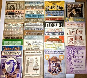 LOT-of-37pc-Large-Format-Sheet-Music-Waltz-Song-Antique-Vtg-2-7-LBS-Piano-NICE