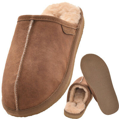 Mens Ladies Genuine Real Soft Sheepskin Mule Slipper Hard Sole Tan Uk6 Uk7 Uk9 Knitterfestigkeit