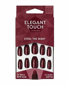 Elegant Touch Colour False Nails, Steel the Night, Oval Shape (previously kno...