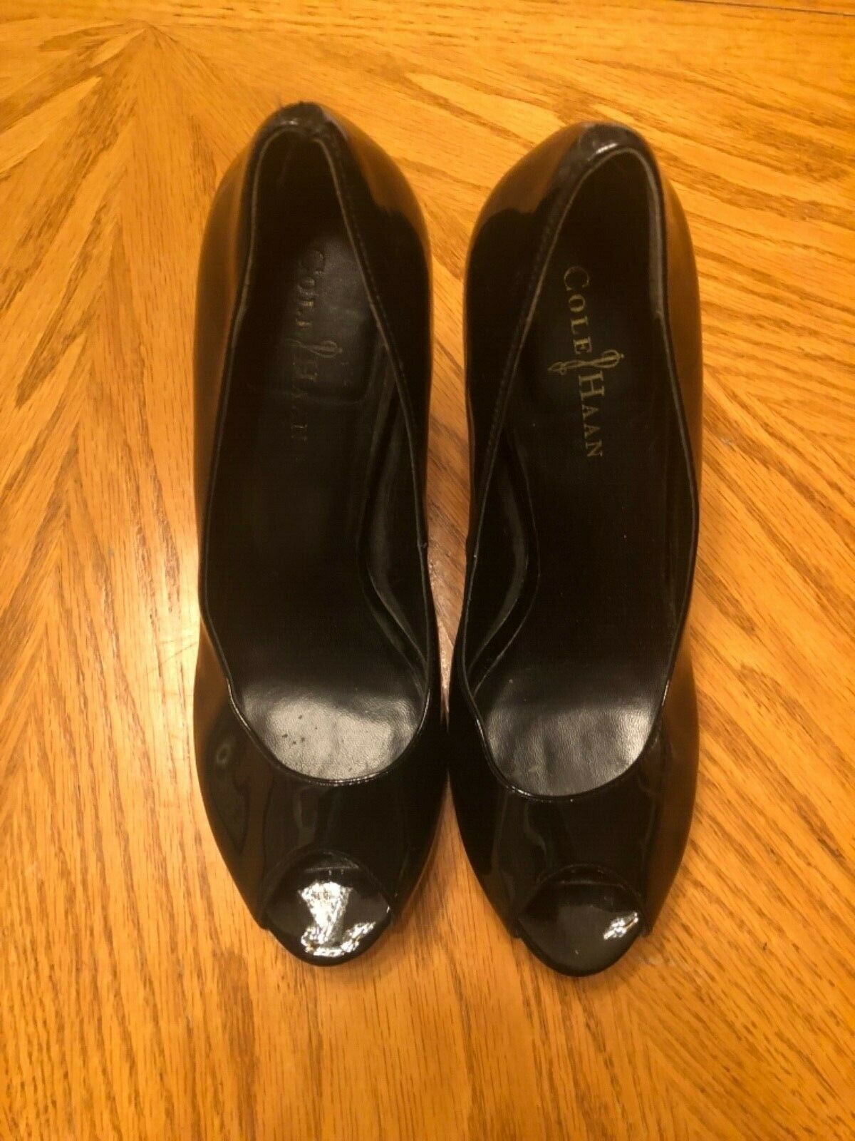 Cole Haan Open Toe Heels Heels Heels Black Leather Wood Soles Size 9B 8cc043
