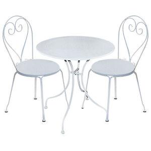 Tavolo Giardino Ferro Bianco.Dettagli Su Tavolo Da Giardino In Ferro Bianco Tondo Completo Di 2 Sedie Arredo Giardino