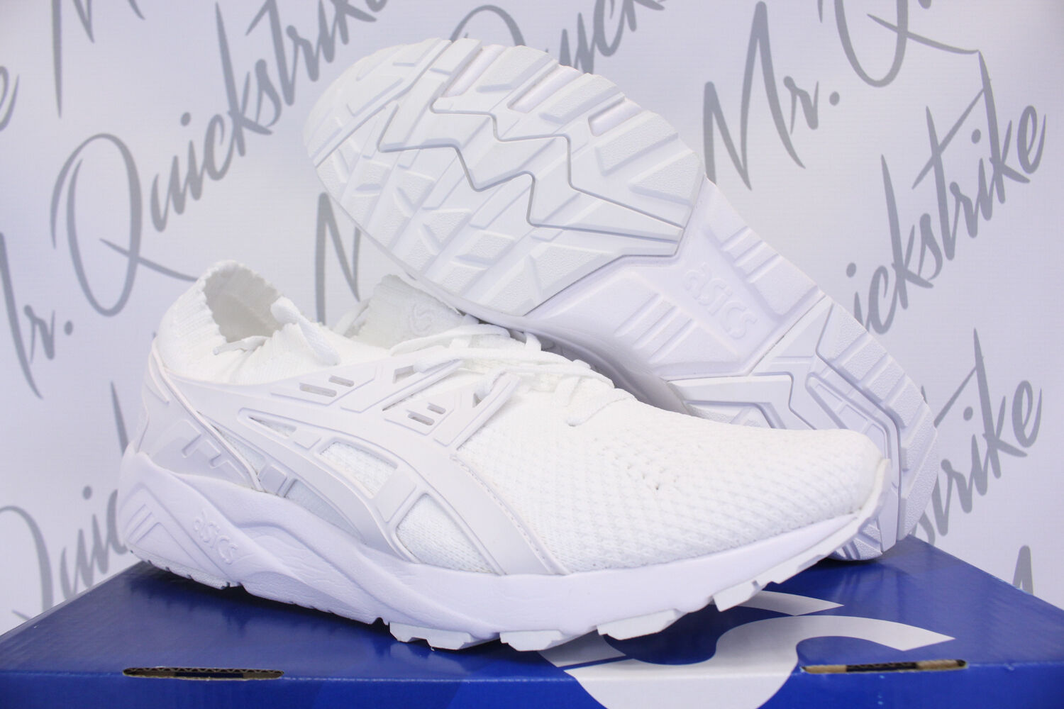 ASICS GEL KAYANO TRAINER KNIT SZ 10.5 TRIPLE WHITE H705N 0101