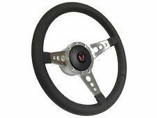 1969 - 1989 Red Firebird 9 Bolt / Tri Spoke Leather Steering Wheel, Hub & Button