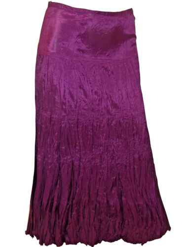 M /& Co dark magenta crinkle satin maxi skirt sizes 12 to 20