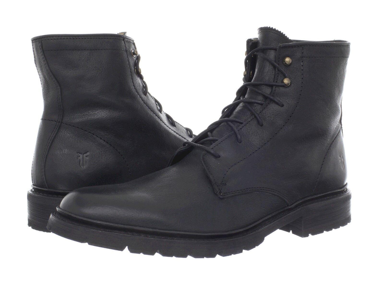 Men's Frye James Lug Lace Up avvio nero Hammerosso Full Grain Leather 87931 BLK