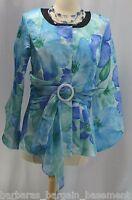 Essence By Mail Qvc Blazer Suit Jacket Floral Aqua Chiffon Coat Top Sz 4 S
