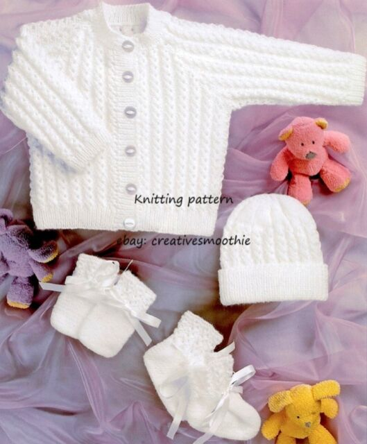 (637) Knitting Pattern for Baby Jacket, Hat, Mitts, Bootees, Premature 12''-22''