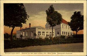 Eggersdorf-Sachsen-Anhalt-AK-1910-Bahnhof-Gasthof-Zu-den-zwei-Linden-gelaufen