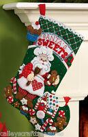 bucilla plaid santa s bakery felt christmas stocking kit 86437 16 long Craft Supplies