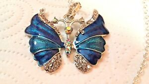 Pendant-Large-Blue-Butterfly-on-a-S-P-Chain-68-cm-long