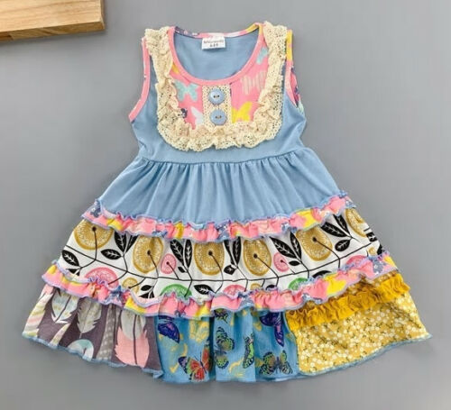 NEW Girls Boutique Blue Sleeveless Tiered Floral Ruffle Dress 5-6 6-7 7-8