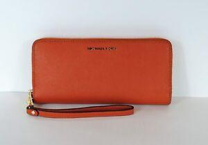 2c1821370b70 NEW Michael Kors Jet Set Travel Continental Wallet Orange zip around ...
