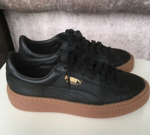 Puma Womens Size 5 Black Leather Thick
