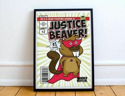 The Office Poster Justice Beaver Superhero Comic Office TV Show No Frame