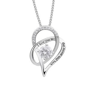Sterling-Silver-034-I-Love-You-To-The-Moon-and-Back-034-Love-Heart-Pendant-Necklace