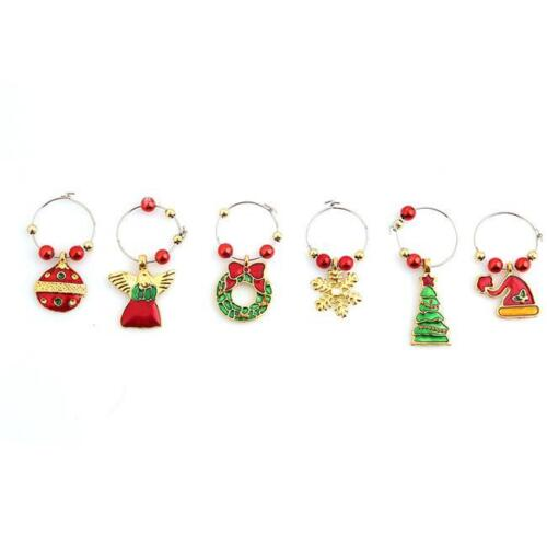 Fashion Mixed Christmas Wine Glass Marker Charms Ornaments Table Decoration LP