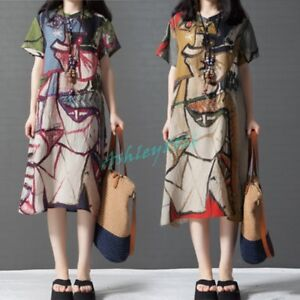 womens ethnic boho abstract pattern 100 cotton long tops