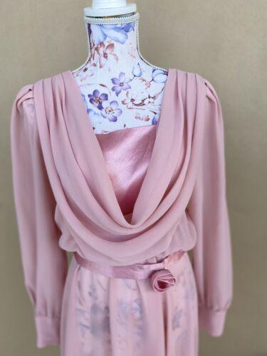 Delectable 80s Ursula of Switzerland Hot Pink Chiffon Dress