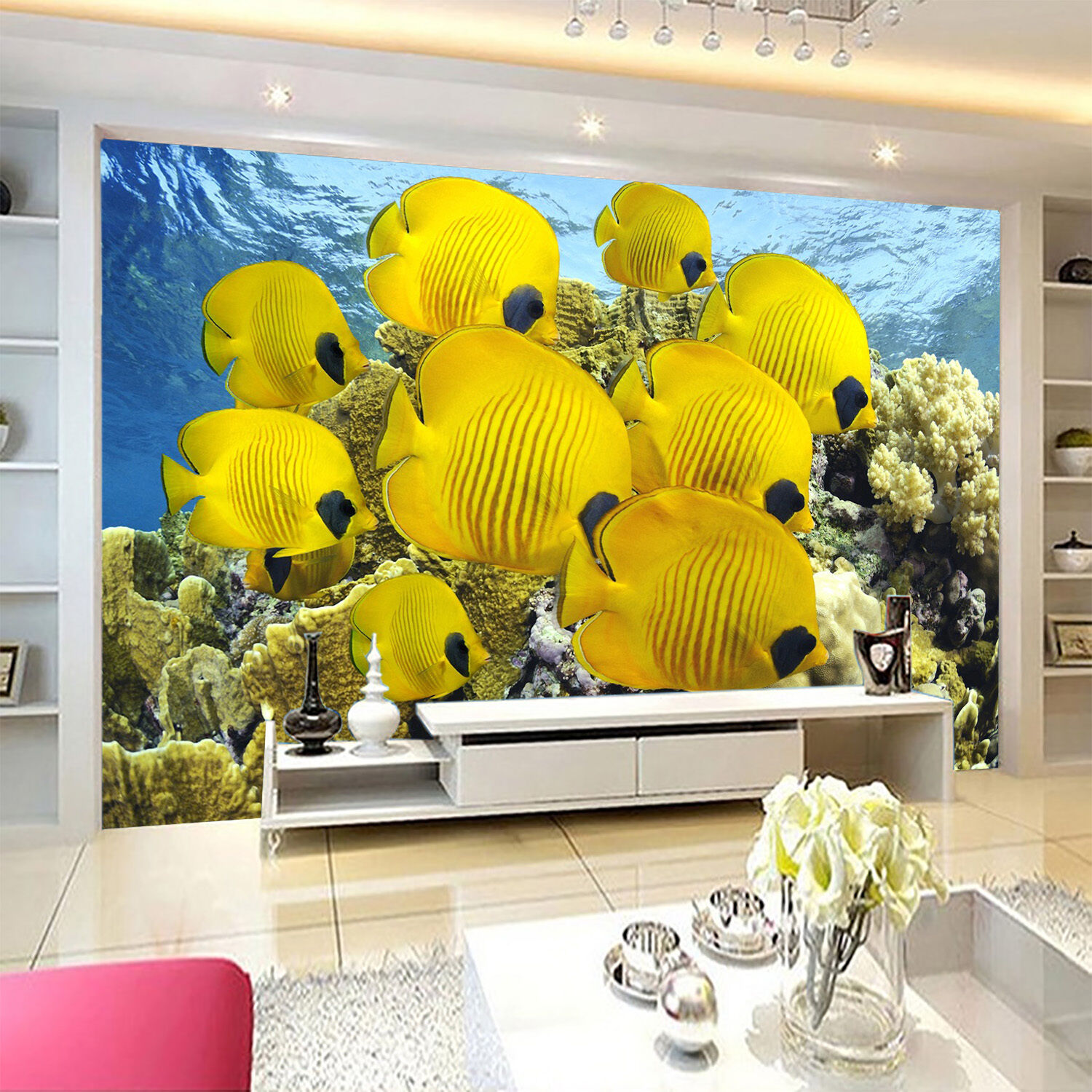 3D Gelb Fish Wall Paper wall Print Decal Wall Deco Indoor wall Mural