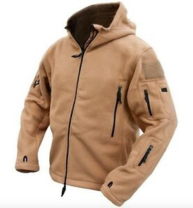 Tactical-Military-Combat-Recon-Zip-Fleece-Hoodie-Jacket-COYOTE-Outdoor-Security