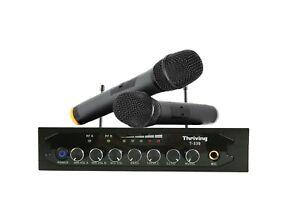 Pro Audio UHF Wireless Microphone System 2 Handheld Mic Karaoke Bluetooth For TV