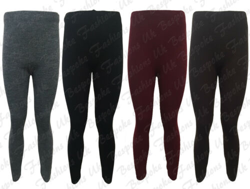 New Ladies Women/'s Ribbed Knitted Full Length Stretchy Leggings One Size 8-14