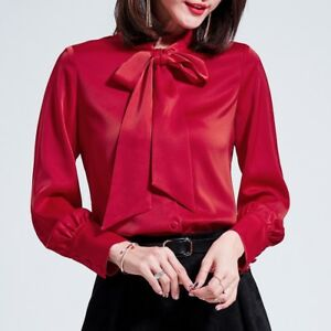 ac0d85d9b84027 Details about Womens Satin Real Silk Button Down Blouse l2 Top Bow Tie Neck  Shirt Long Sleeve