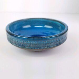 Mid-Century-Nils-Kahler-Dish-HAK-Danish-Blue-Trinket-Bowl-Denmark-4in-B