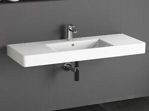 das bild wird geladen design keramik waschtisch 120 cm waschbecken doppelwaschbecken aqua