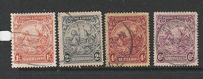 Charitable Barbados 1925/35 1 1/2d P14 2d 4d & 6d Used Sg 231d/32/35 & 36