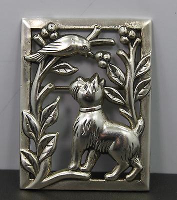 Sterling Craft by Coro Dog & Bird Pin/Brooch