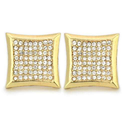 Mens 14k Gold Plated Cz Micro Pave Kite Screw Back 8 Row Earrings