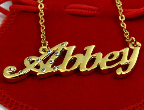 Name Necklace ABBEY 18K Gold PlatedJewelry Bridesmaid Gift Nekless Family