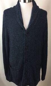 Marc Anthony Cardigan Sweater Size XXL Slim Fit Blue Shawl Collar Merino New F10