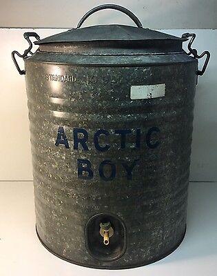 Vintage Arctic Boy Huge 10 Gallon Galvanized Water Cooler w/Spigot Heavy Duty