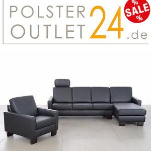 w schillig ledergarnitur ledersofa in z71 99schwarz. Black Bedroom Furniture Sets. Home Design Ideas
