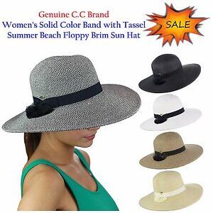 534731da8 Details about NEW C.C Women's Solid Color Band with Tassel Summer Beach  Floppy Brim CC Sun Hat