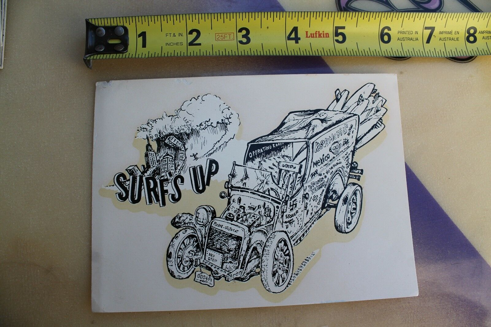 SURF'S UP Vintage Rat Fink Woody Wagon Rare 1960's Water Slide Transfer Decal