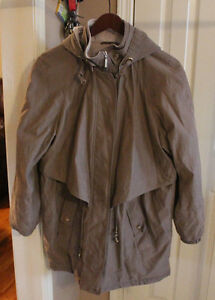 OUTBROOK-Women-039-s-fleece-lined-coat-polyester-size-LARGE-12-14-Hood-BROWN