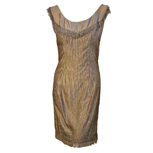 CEIL CHAPMAN 1950s Champagne Silk Shimmering Cock… - image 1