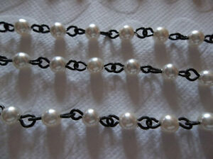 Qty 18 inch strand 4mm Ivory Cream Glass Pearls Bead Chain Silver Rosary Chain