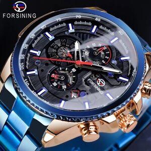 Herren-Uhr-Wasserdicht-Mechanische-Armbanduhr-Edelstahl-Band-Uhr-Datum-Anzeige