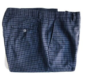 Paisley-amp-Gray-Plaid-Pants-Slim-Fit-34-x-32-Blue-Black-Exc-Cond