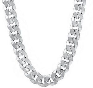 .925 Solid Sterling Silver 8MM CUBAN CURB LINK CHAIN NECKLACE MENS CHAIN ITALY