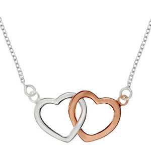 Silverly womens sterling silver rose gold plated two heart image is loading silverly womens sterling silver rose gold plated two aloadofball Image collections