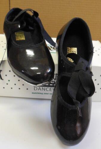 MainStreet tap shoes 3505 ladies szs Black Patent elastic inset ribbon tie